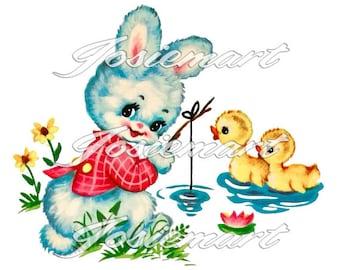 Vintage Digital Download Bunny with Fishing Pole Kawaii Vintage Image Collage Large JPG