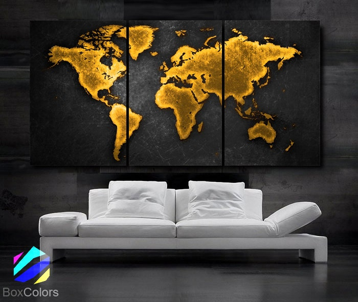 Large 30x 60 3 panels art canvas print world map zoom gumiabroncs Images