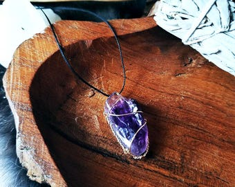 Amethyst Amulet | Wire Wrapped Necklace | Pendant, Crystals, Gems, Jewelry, Spiritual, Rocks & Minerals, Natural, Stone