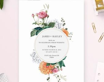 Modern Vintage Floral Wedding Invitations Elegant Vintage Botanical Flowers Wedding Invites Pink Peach Orange Flowers Hydrangeas Dahlia