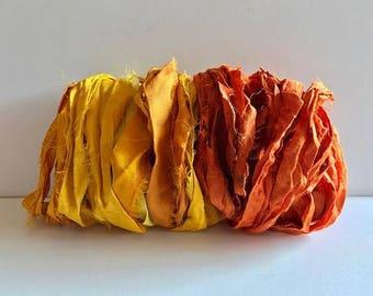 Sari Silk Ribbon-Yellow & Orange Recycled Sari Ribbon-10 Yards