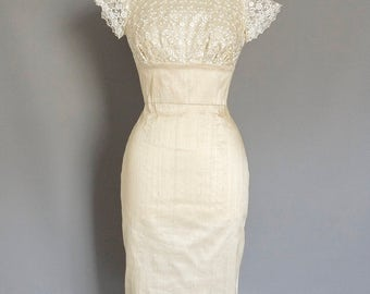 Champagne Silk Dupion & Pearl Lace Tiffany Wiggle Wedding Dress - Made by Dig For Victory