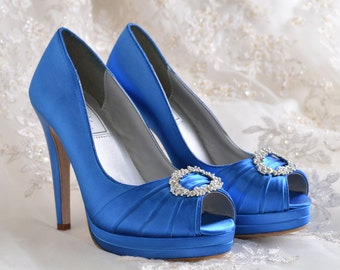 Wedding Shoes- Platform Dress Shoes- Bridal Peep Toe - 4 inch Heels- 250 Custom Dye Colors