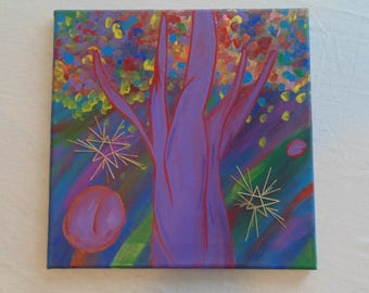 Original OOAK Purple Rainbow Tree in Space Painting w/ Stitched Stars and Planets, One of a Kind, Ready to Hang, 12x12, Abstract, Dabbed