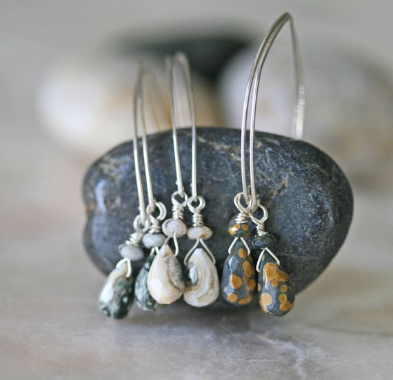 Ocean Jasper Open Hoop Earrings in Sterling Silver