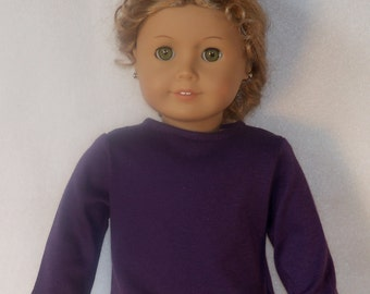 American Made 18 inch Doll Long Sleeved Purple Crew Neck Tee-Shirt