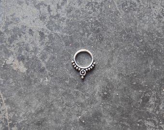 silver septum ring helix tragus cartilage earring boucle d'oreille en argent piercing de nez