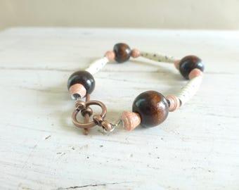 Bois et bracelet papier, bracelet en perles, bracelet pour les femmes, bijoux en perles, prêt à expédier, fait à la main
