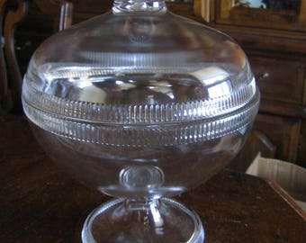 Antique EAPG High Standard Glass Covered Compote