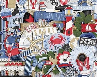 On Sale 50% Shoreline  Digital Scrapbooking Kit, Elements, Embellishments