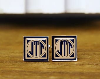 Custom Initials Square Cuff Links, Monogram Square Cuff Links & Tie Clips, Personalized Cufflinks, Custom Wedding Cufflinks, Groom Cufflinks
