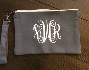 Monogrammed Clutch; personalized pouch