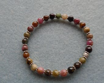 Multi Coloured Tourmaline Beads, Stretchy Bracelet, Thai Silver Spacers