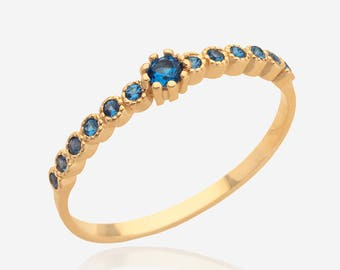 gold gemstone ring Stacking ring blue topaz ring multistone ring birthstone ring blue stone ring women jewelry delicate ring mothers rings