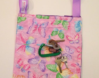 Pooch Pouch, sparkly butterflies, purple lining