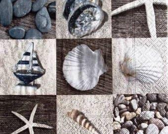 Pebbles, sand, shells #M007 paper TOWEL