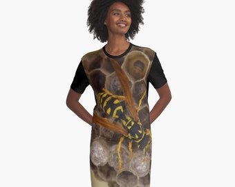 She Wasp T-Shirt Dress Insect Nature Nest XS S M L XL 2XL Clothing Clothes Women Teen Ladies Fashion Skirts Wearable Art