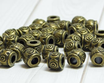 7x6mm - Metal Beads - Large Hole Beads - Barrel Beads - Spacer Beads - Bronze Beads - Pewter Beads - 15pcs - (B719)