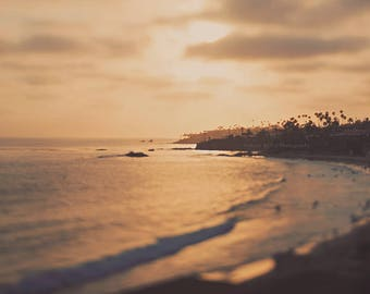 Laguna Beach photo, beach print, sunset photography, California baby nursery art, landscape photograph, dorm decor, girls room wall art