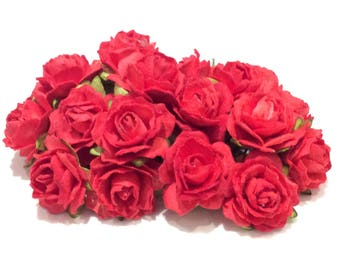 Red Tattered Mulberry Paper Roses Tr018