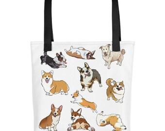Corgis Everywhere, Tote bag, Funny Dogs, Cartoon Canines, Humor