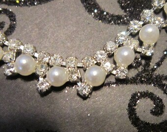 BRIDAL JEWELRY - Vintage Pearl and Rhinestone Necklace and Earring Set - N-228 - Demi Parure - Bride Jewelry - Wedding Day