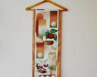 Feliciani Vintage Scarf/Oblong Silk Scarf/Vintage Silk Scarf/Botanical Theme Scarf/1970s