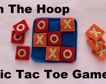DYI ITH Felt Tic Tac Toe Game In the Hoop Embroidery Design Pattern
