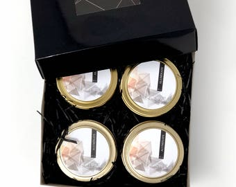 CHOOSE FOUR gold candle tins. 4 oz size. Five fragrances. All natural candle, hand poured luxury in a gold tin. Crystal inside
