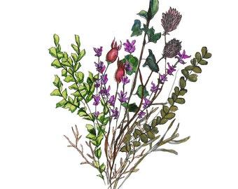 Wildflower Bouquet, Art Print, Floral print, Botanical Print, Home Decor, Wall Art, Watercolor Bouquet, Ink pen
