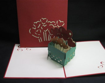 3-D Valentines/Love Pop-Up Card, 3-D Love Pop-Up Card, valentines card, valentines greeting card, valentines popup card, 3d valentines card