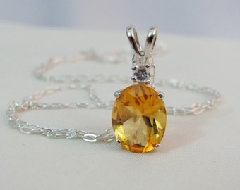 Citrine Gemstone Necklace in Sterling Silver, 10x8 Citrine Jewelry, Accent Necklace, November Birthstone, Citrine Pendant, Wedding Jewelry