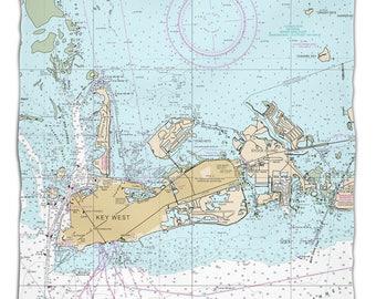 FL: Key West, FL Nautical Chart Fleece Throw Blanket, Map Blanket