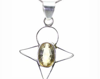 Lemon Quartz Pendant, 925 Sterling Silver, Unique only 1 piece available! color yellow, weight 5.8g, #25412
