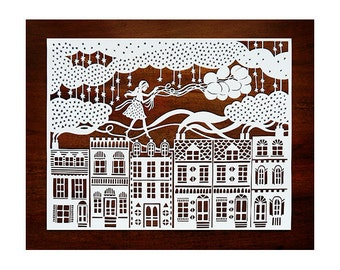 Original Papercut - Girl on the Rooftops with Balloons - Handcut Paper Illustration