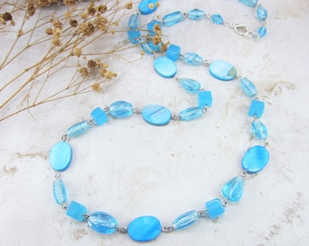 Teal Necklace, Blue Necklace, Long Necklace, Turquoise Necklace, Unique Blue Necklace, Colorful Blue Necklace, Mothers Day Gift