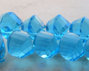 Aqua Blue Quartz Faceted Twist Teardrop Beads 12 X 10mm - 8 inch Strand