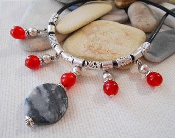 Jasper and Red Glass Necklace Black Leather Necklace Black and White Jasper Jewelry Statement Necklace Jasper Necklace Charm Necklace
