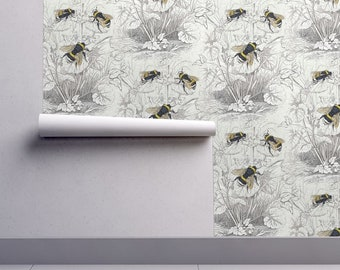 Bumble Bee Wallpaper - Humble Bee Honey Bee By Magnoliacollection - Bee Custom Printed Removable Self Adhesive Wallpaper Roll by Spoonflower