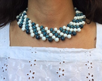 Collar Necklace Beaded Necklace Women's Bib Necklace Wooden Statement Necklace Wooden Bead Necklace Blue And White Bead Necklace For Her