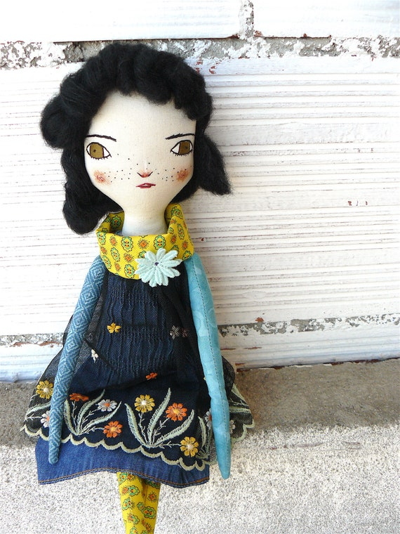 New more stylized model. Art doll in cotton. Alpaca and silk hair. 16 inches.