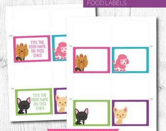 Puppy Food labels, Puppy Food Tags, Buffet Cards, Pet Adoption Party, Puppy adoption party, Puppy birthday, Digital files, Instant Download