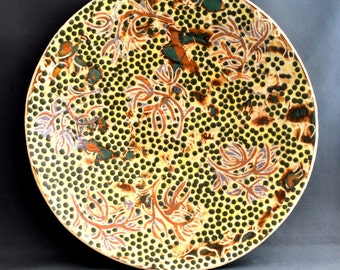 Orchid - handmade ceramic plate, ceramic dish, pottery art, pottery plate, fine art, home decor, gift idea, for him or her, wedding gift