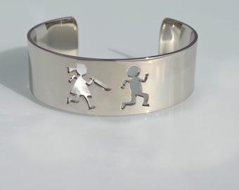 """cuff bracelet """"Ino&Ina Flee"""", bracelet for women, Hypoallergenic, Nickel Free, Lead Free, Cadmium Free, laser cut bracelet, silver finishing"""