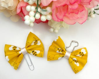 Bumble Bee Yellow Fabric Bow Clip or Charm     [133]