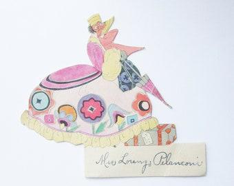 Vintage art deco place card lady with umbrella and luggage ephemera