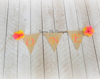 Burlap Luau Hawaii Bunting Flag Banner for Birthdady Party, Room or Nursery Decoration