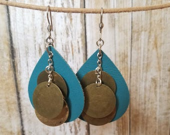 Faux Leather Earrings, Teardrop Earrings, Teal and Bronze, Teal Jewelry, Lightweight Earrings, Gift for Her, Bronze Disks, Teal Leather