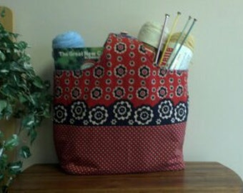 Medium Reversible, Washable Market Tote or Purse in Red and Blue