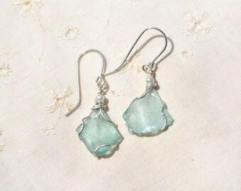 Roman Glass Jewelry Roman Glass Earrings Silver Wrapped Earrings with Pearls Silver Jewelry Israeli Earrings Free Shipping from Israel